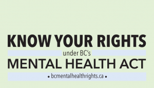 "Front of card. Text says ""Know Your Rights under BC's Mental Health Act. bcmentalhealthrights.ca"