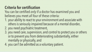 "Bottom flap of the card. Text says, ""Criteria for certification You can be certified only if a doctor has examined you and believes you meet all four of these criteria: 1. your ability to react to your environment and associate with others is seriously impaired because of a mental disorder, 2. you need psychiatric treatment, 3. you need care, supervision, and control to protect you or others or to prevent you from deteriorating substantially, either mentally or physically, and 4. you can't be admitted as a voluntary patient."""