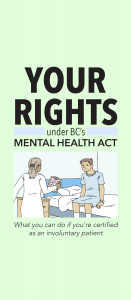 "Front cover of pamphlet. Illustration shows patient on a hospital bed and a doctor with a clipboard. The text says, ""Your rights under BC's Mental Health Act: What you can do if you're certified as an involuntary patient."""