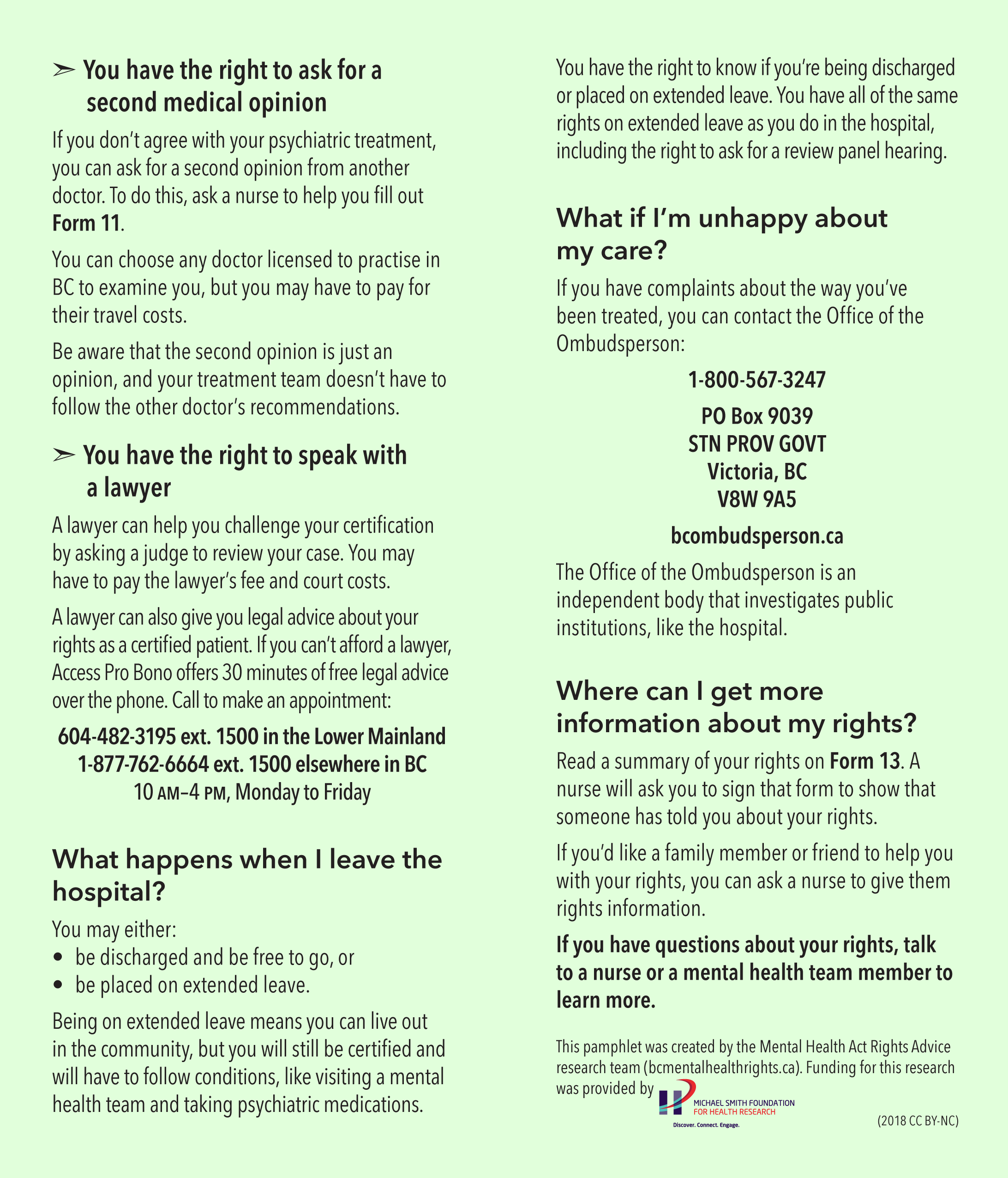 Pamphlet – BC Mental Health Rights