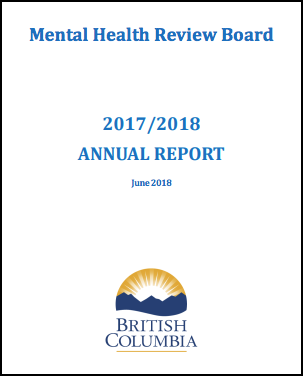 Cover of the Mental Health Review Board Annual Report from 2017 to 2018