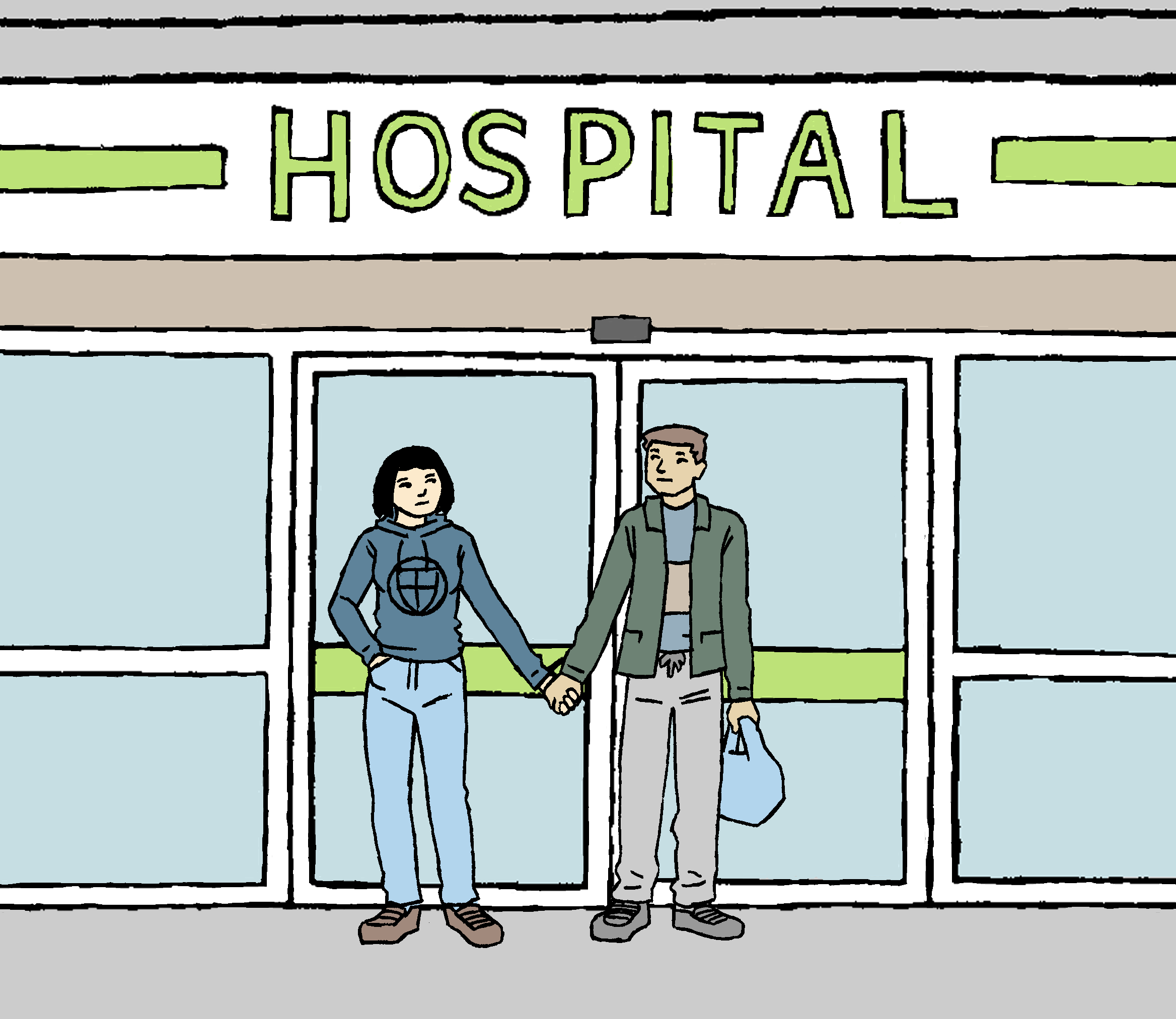 Cartoon showing two people holding hands outside of the hospital doors.