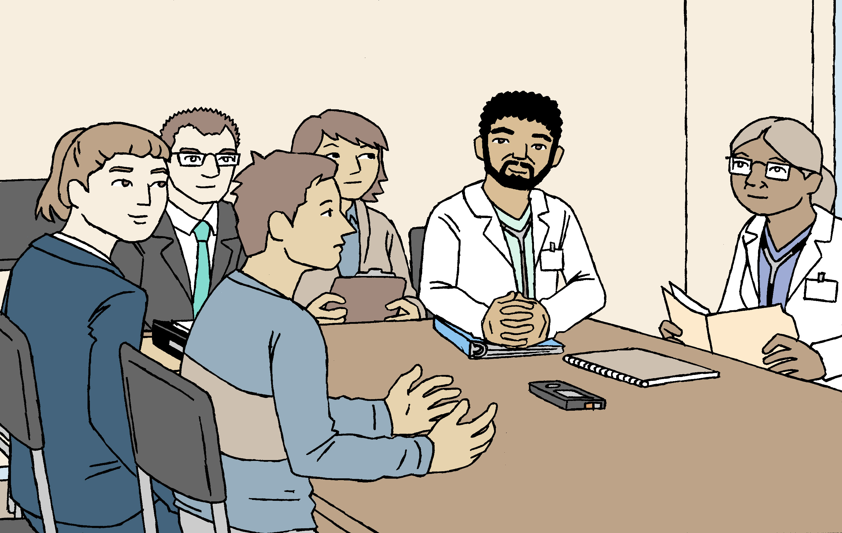 A cartoon depicting a mental health review board hearing. The three-member panel sits along one edge of a large table. The patient sits with his representative on one side of the panel and the case presenter, in this case the doctor, sits on the other side.