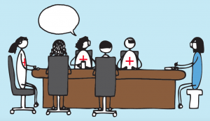 Cartoon of clinicians sitting around a table. One of them is talking. A researcher listens.
