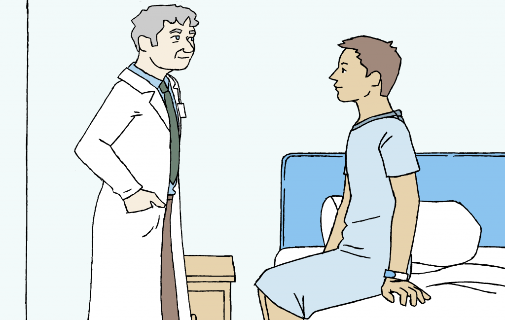 A cartoon showing a doctor examining a patient on a bed.