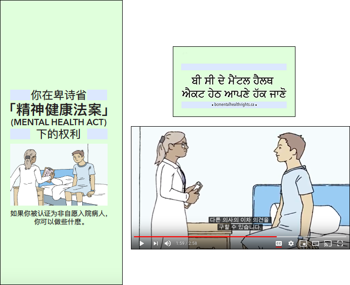 Image showing cover of Chinese pamphlet, cover of Punjabi card, and video with Korean subtitles