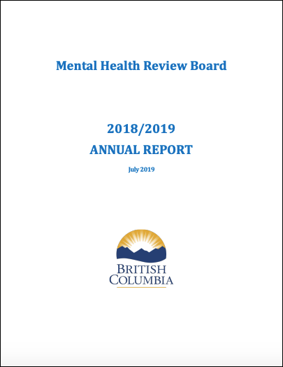 Cover of the Mental Health Review Board's 2018–2019 annual report