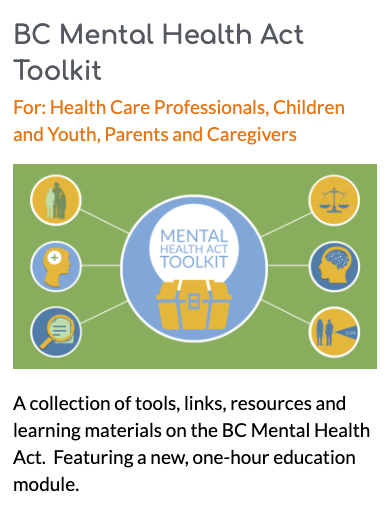 Screen shot from healthymindslearning.ca showing the link to the BC Mental Health Act Toolkit